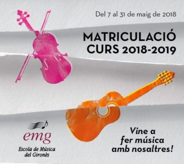 Cartell: matriculacions a l'Escola de Música del Gironès
