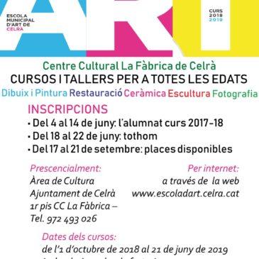 Cartell: Inscripcions a l'escola d'art 2018