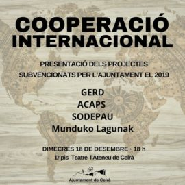 Cartell de l'acte de presentació dels projectes de cooperació que tindrà lloc el dia 18 a l'Ateneu.