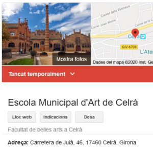 Captura del cercador Google que es fa ressó del tancament de l'Escola d'Art de Celrà